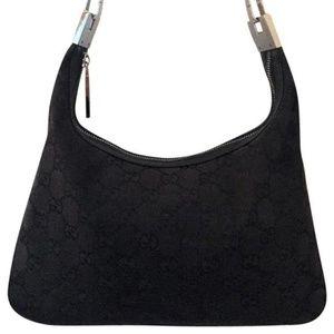 Gucci Vintage Black GG Monogram Shoulder Bag